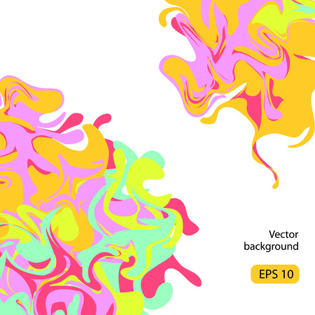 Vector abstract colorful background. Swirling stains of neon color, ink in water imitation. Marble texture illustration.