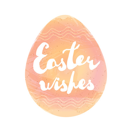 Easter greeting card. Handwritten phrase: Easter wishes placed on egg shaped watercolor imitation. Vector illustration separated in layers for easy editing. Ilustração