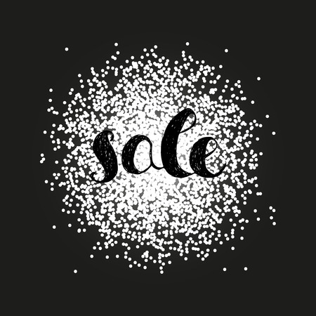 Sale announcement. Hand drawn text on swarm of dots as background. Vector illustration.