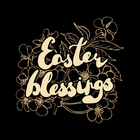 blessings: Easter greeting card. Cherry blossoms with handwritten text Easter blessings isolated on white background. Vector illustration.