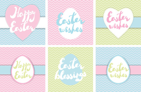 Set of printable Easter greeting cards. Handwritten texts Easter wishes, Easter blessings, Happy Easter on pastel colors backgrounds. Vector invitation templates, banners, labels, posters.