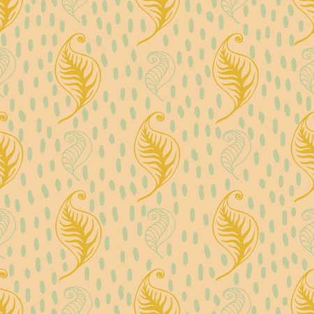 Wavy leaves seamless pattern. Vector design for tea packaging, textile print, wrapping paper. Ilustração
