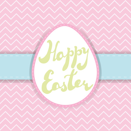 Printable Easter greeting card. Handwritten text Happy Easter on pastel colors backgrounds. Vector template for invitation, banner, label, poster.