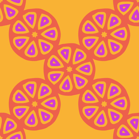 Seamless vector pattern with citrus fruit cut. Bright colored repeating pattern for juice packaging, wrapping paper, scrapbooking, children projects.