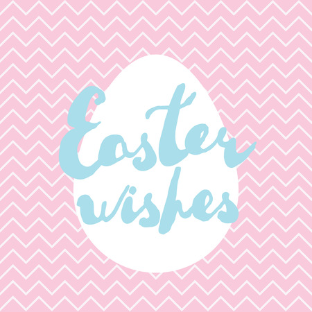 Printable Easter greeting card. Handwritten text Easter wishes on pastel colors backgrounds. Vector template for invitation, banner, label, poster.