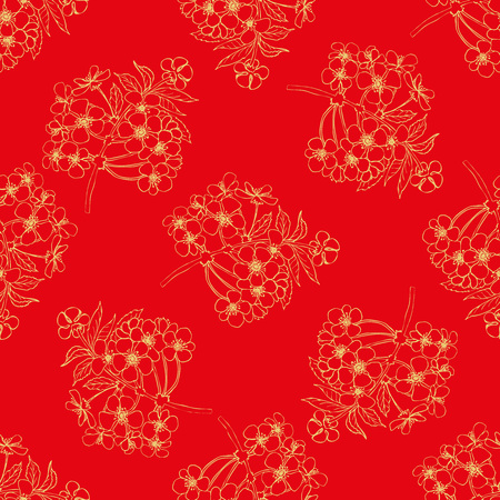 Chinese style seamless pattern. Golden flowers on red background. Cherry blossoms repeating vector design