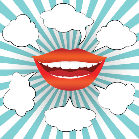 comix: Pop art style smiling woman mouth with different blank speech bubbles. Sexy smile with red lips and white teeth on sunburst background. Vector illustration