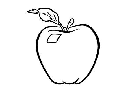 Cartoon like illustration of a colourless apple using simple lines on a white background. Drawing of an apple fruit with a stalk and one leaf. Symbol of health, youth, vigor, beauty, wholeness