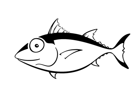 Cartoon like tuna fish in profile. Colourless drawing of a sea creature with big head and eye, made by using ink-like, black, fluid lines on a white background. Comic, humorous, funny illustration