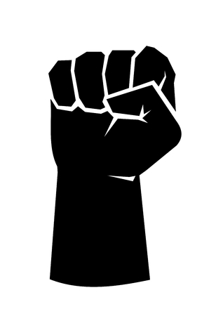 Black silhouette of a male rising fist on a white background with white lines defining fingers and thumb. Symbol of freedom, fight, revolution, unity, strength and struggle. Simple, basic illustration