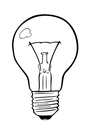 Light bulb incandescent wire type created in cartoon comic like style. Handmade drawing of an object using simple, fluid, black lines and outlines. Illustration associated with light, inspiration.