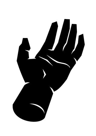 Black silhouette of a male open hand palm up, fingers extended. White hand lines on an empty hand drawn in perspective. Symbol of clarity, honesty, openness, friendship. Simple, basic illustration.