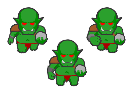 Animation frames of an green ork walking and holding a rock on a white background. Drawing of a humanoid figure cute and child like. Symbol of human animal side, power, instinct, foolishness Illustration