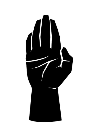Black silhouette of a male open hand palm with united fingers on a white illustration.