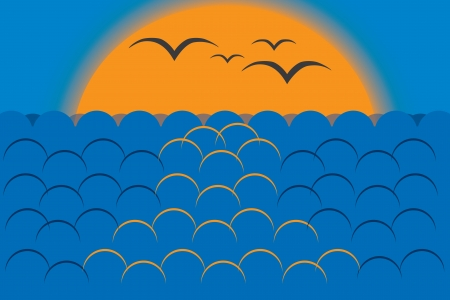 sunset, sea and flying gulls on the background of the sun Stock Vector - 14926645
