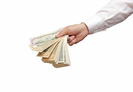 foto: fan of dollars in the man Stock Photo