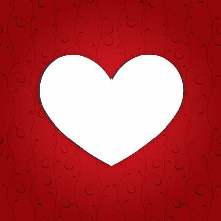white heart on red background Stock Vector - 17206484