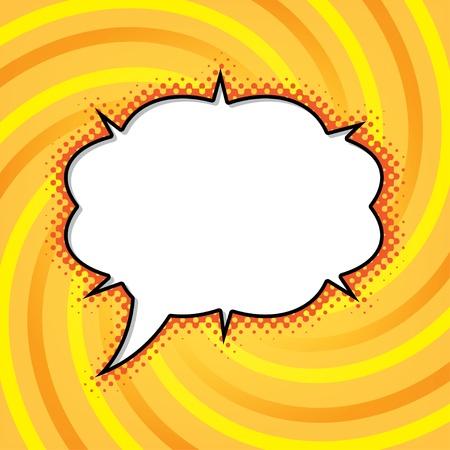 cartoon bubble on abstract vortex orange background  illustration Stock Vector - 17206495
