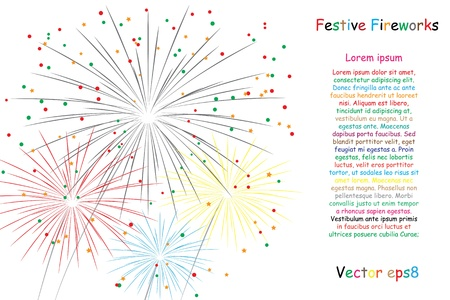 festive fireworks on white. vector illustration background eps8 Çizim