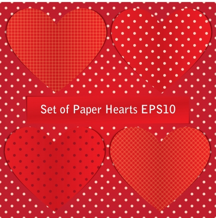 set of paper hearts for postcard. Vector eps10 Stock Vector - 17316062