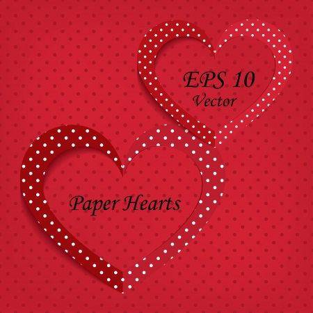 two paper hearts. background vector eps10 Stock Vector - 17316220
