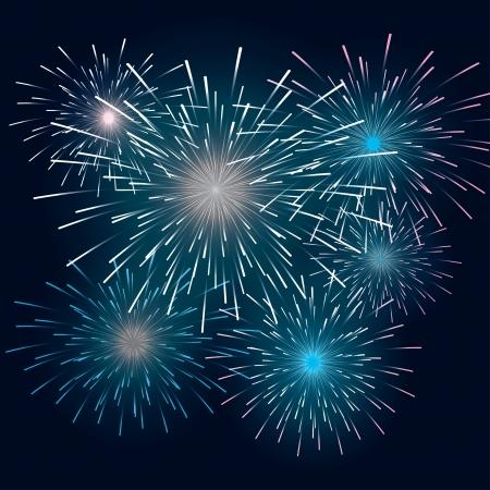 set festive fireworks in the dark sky. Stock Vector - 17607914