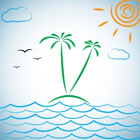 tropical island. illustration. Stock Vector - 17914809