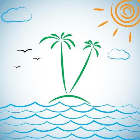 tropical island. illustration. Stock Vector - 17914809
