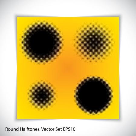halftones: set of halftones circles. Illustration