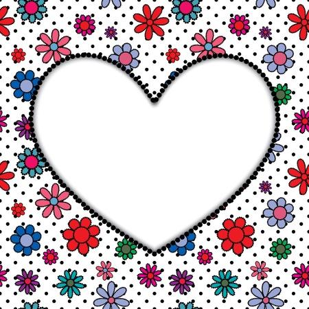 frame of the heart on flower seamless background. Stock Vector - 17915904
