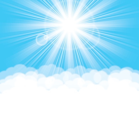 sun in the clouds background. Stock Vector - 17915895