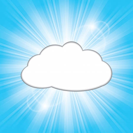 sunlight sky: sun behind the cloud. Illustration