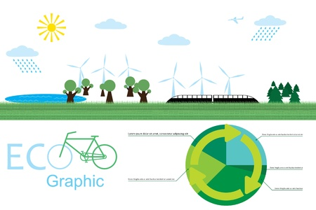 eco graphic. image of the ecological environment.  Çizim