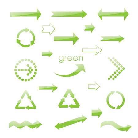 abstract recycle arrows: brilliance eco green arrows. vector set eps10 Illustration