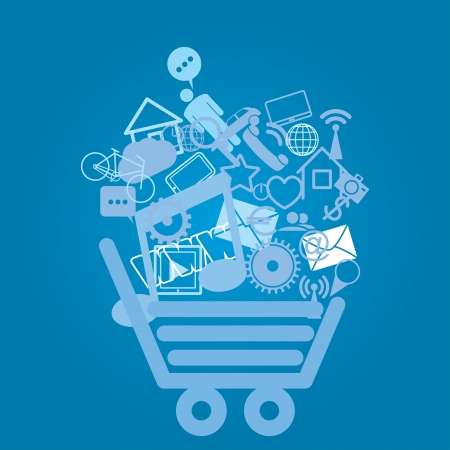 www community: shopping cart. abstract media background. eps8 Illustration