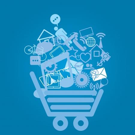 shopping cart. abstract media background. eps8 Illustration