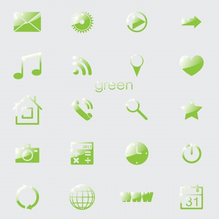green eco set of media icons for applications. eps10 Stock Vector - 18050777