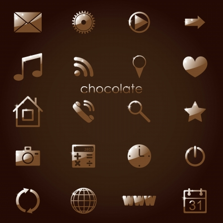 chocolate set of media icons for applications. eps10 Stock Vector - 18050779