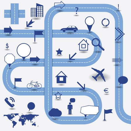 road map:  infographics elements. signs and pointers.  Illustration