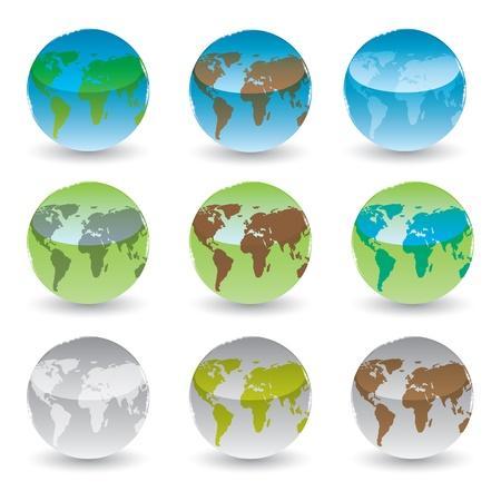 globus: set of brilliant colored globes