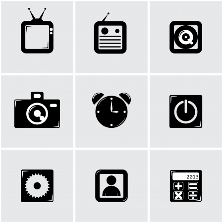 simple apps icon set. black Stock Vector - 18154443