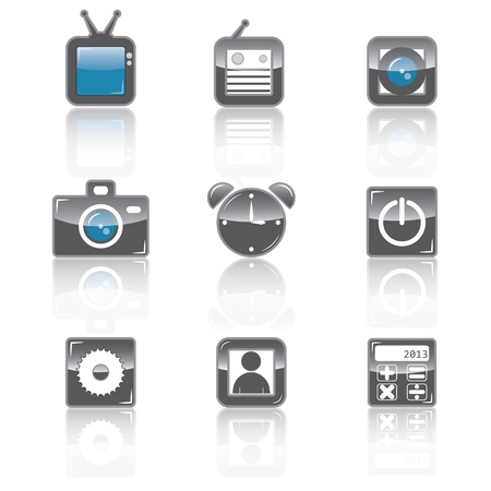 set of media brilliant icons for apps Stock Vector - 18154421