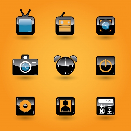 set of black brilliant media icons for apps Stock Vector - 18154439