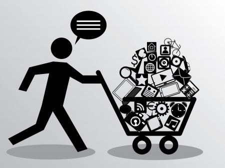 running man met winkelwagentje Stock Illustratie