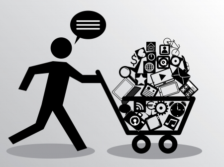people icon set: running man with shopping cart