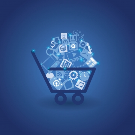 commerce communication: basket with shopping Illustration
