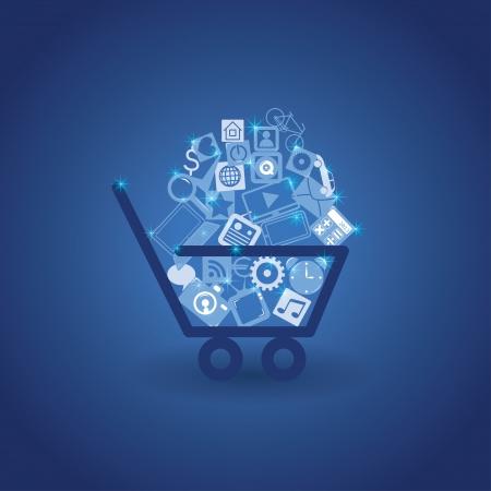 web commerce: cesto con lo shopping