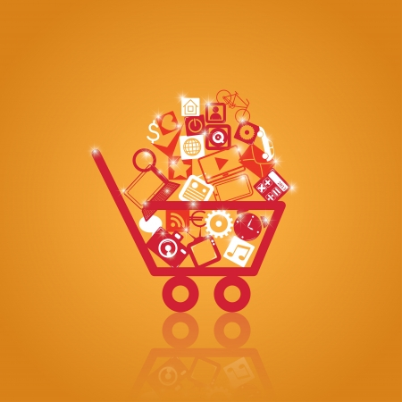 basket with shopping. vector media elements. eps10