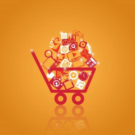 mand met winkelen. vector media-elementen. eps10 Stock Illustratie