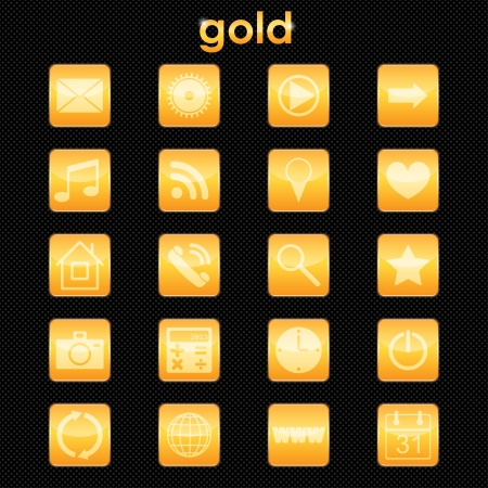 set of buttons for applications in gold. eps10 Vector